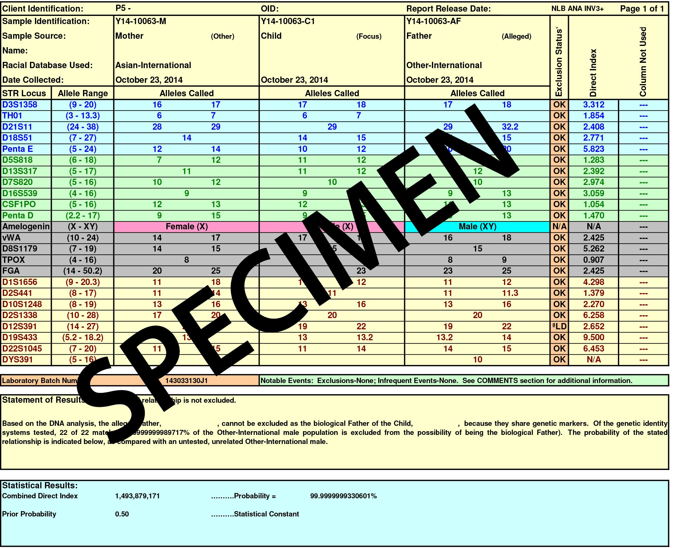 DNA Test - Report con risultato negativo