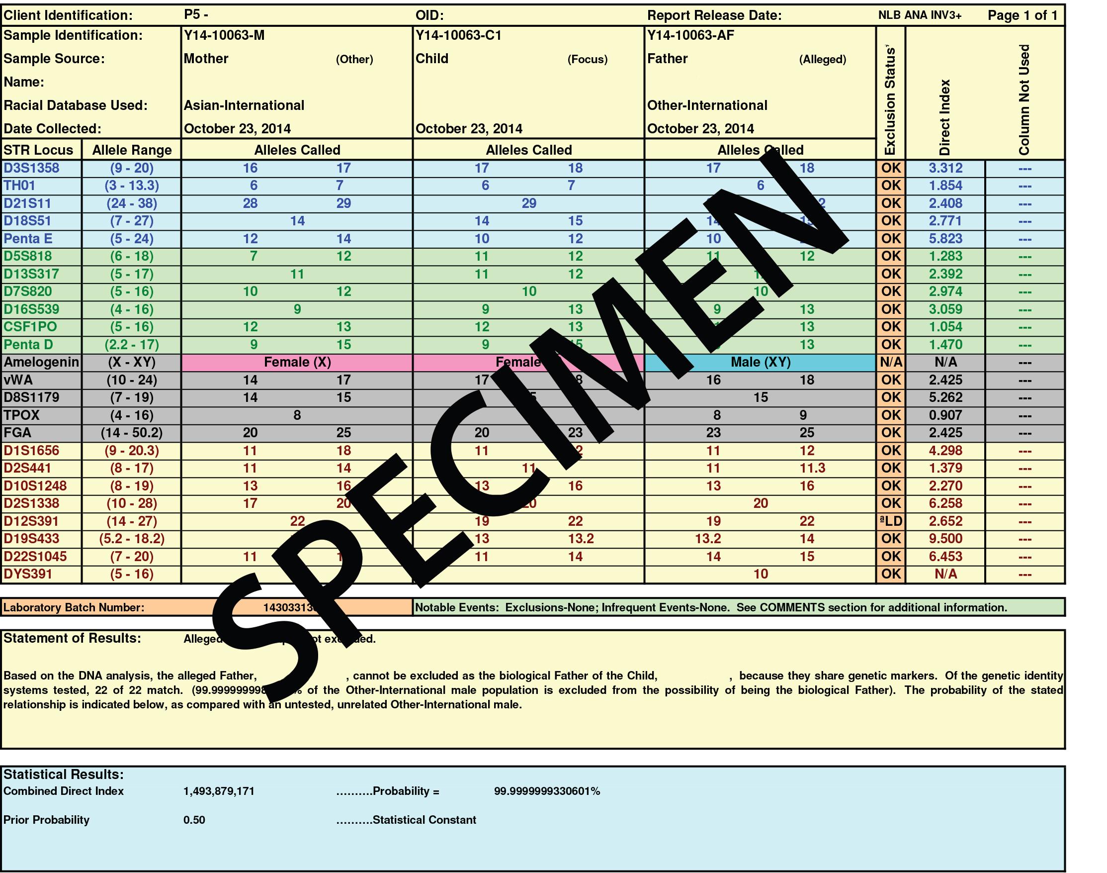 DNA Test - Report con risultato positivo